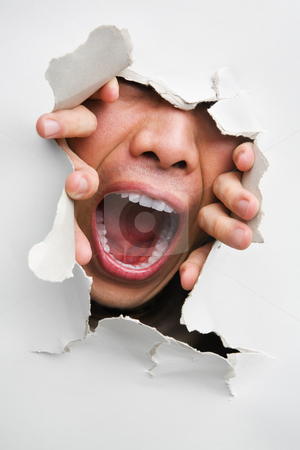 Male mouth screaming from cracked wall stock photo, Male mouth screaming from cracked wall - one of the breakthrough series by Rudyanto Wijaya