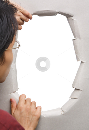 Man peeking through hole in wall stock photo, Man peeking through hole in wall - blank one, you can full it with image by Rudyanto Wijaya
