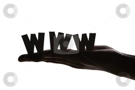 Hand holding WWW in silhouette stock photo, Hand holding WWW in silhouette against white background by Rudyanto Wijaya