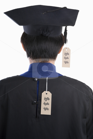 Backside of graduated student with expensive tag stock photo, Backside of graduated student with expensive tag by Rudyanto Wijaya
