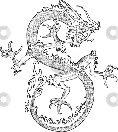 Chinese Dragon  stock vector clipart, An illustration of an oriental style dragon by Christos Georghiou