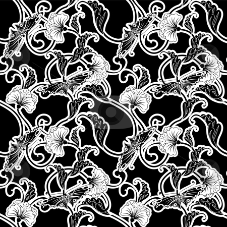 Ornate Japanese inspired black and white repeating seamless tile stock vector clipart, Ornate black and white repeating seamless tile pattern of flowers and butterflies in a Japanese style by Christos Georghiou