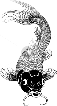 A beautifu orientall koi carp stock vector clipart, Symbol of love, friendship and prosperity by Christos Georghiou