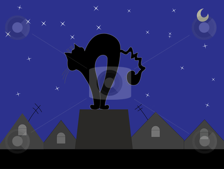 Black cat on a background of the sky stock vector clipart, Contour of a black cat on a background of the night sky by Alexander Karachkin