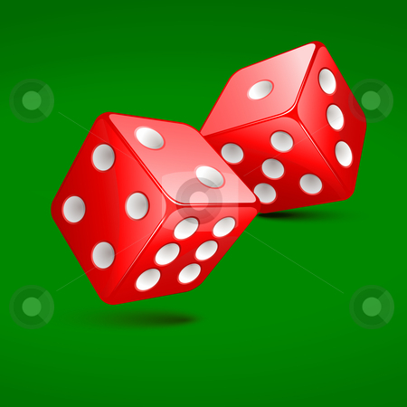 Dices stock vector clipart, Dices on the green velvet by Laurent Renault
