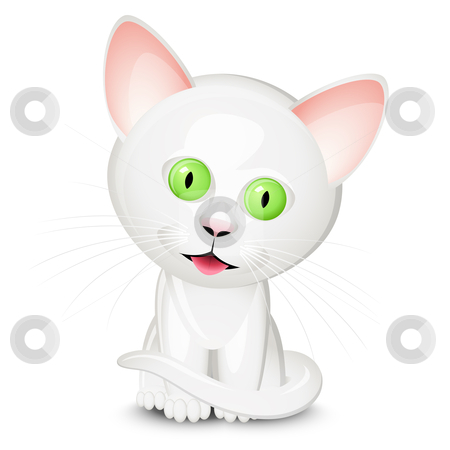 Little white cat stock vector clipart, Little white cat isolated on white background by Laurent Renault
