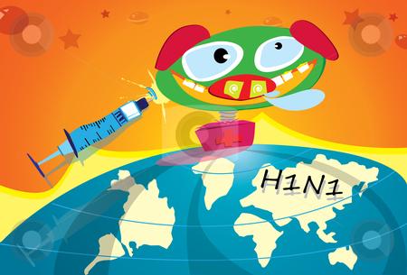 Swine Flu Attack stock vector clipart, Illustration of swine flu virus attack the globe by Verapol Chaiyapin