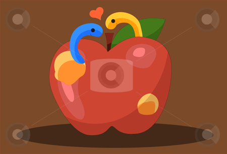 Worm  Romance stock vector clipart, Image of Two Worms who are in love and flirting. by Verapol Chaiyapin