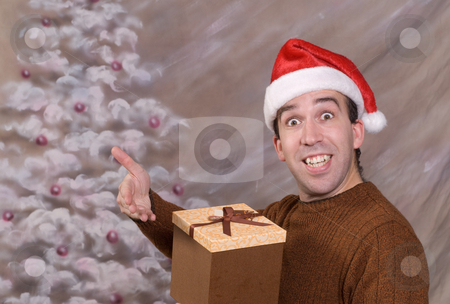 Christmas Gift stock photo, A young man holding a Christmas gift and smiling by Richard Nelson