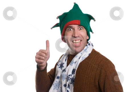 Christmas Thumbs Up stock photo, A happy man giving a thumbs up while wearing  an elf hat and a white scarf, isolated against a white background by Richard Nelson