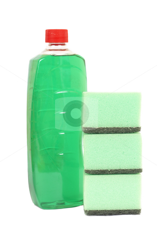 Cleaning products on white stock photo, Three washing sponges and bottle with chemicals isolated on white background by Elena Weber (nee Talberg)
