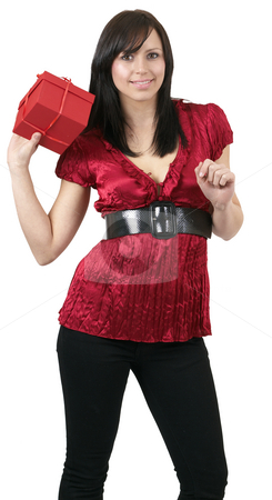 Portrait of beautiful brunette woman stock photo, Portrait of a beautiful young brunette woman holding gift box at a celebration. Isolated on white background by Elena Weber (nee Talberg)