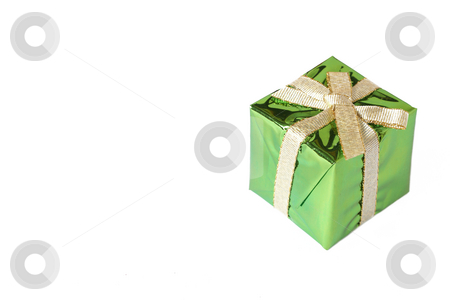 Green mini gift box with gold ribbon stock photo, Green mini gift box with gold ribbon isolated on white background with copy space by Elena Weber (nee Talberg)