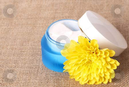 Relaxing spa scene with cream and flower stock photo, Relaxing spa scene with a tub of moisturizing face cream and yellow daisy flower on brown mesh material by Elena Weber (nee Talberg)