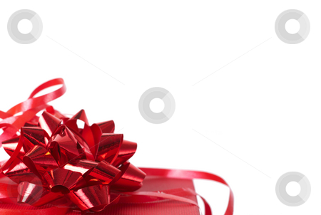 Red gift box with bows on white stock photo, Red gift box with bows isolated on white background with copy space by Elena Weber (nee Talberg)