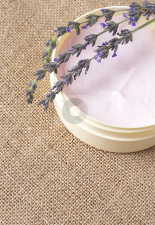 Relaxing spa scene stock photo, Relaxing spa scene with pink body butter in a jar and some lavender stems on mesh material bacground with copy space by Elena Weber (nee Talberg)