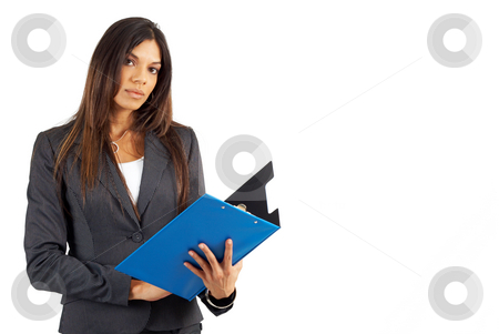 Beautiful brunette businesswoman holding a clipboard stock photo, Beautiful brunette businesswoman in pinstripe suit holding her clipboard. Isolated on white background with copy space by Elena Weber (nee Talberg)