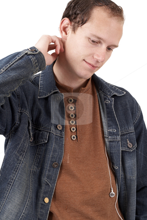 Young caucasian man  stock photo, Young caucasian man wearing trendy clothes. Isolated on white background by Elena Weber (nee Talberg)