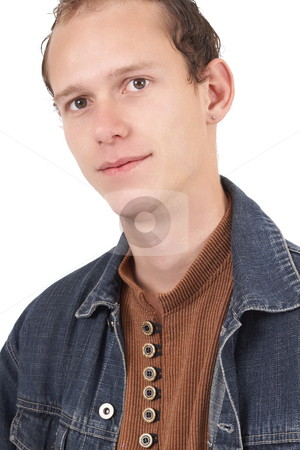 Young caucasian man  stock photo, Young caucasian man wearing trendy clothes isolated on white background by Elena Weber (nee Talberg)