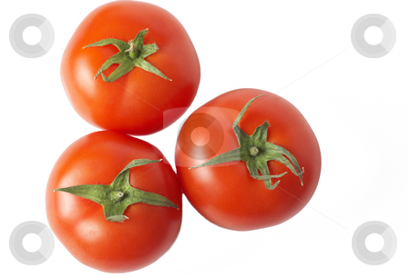 Three tomatoes isolated on white stock photo, Three ripe red tomatoes isolated on white background with copy space by Elena Weber (nee Talberg)