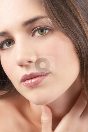Portrait of beautiful brunette woman stock photo, Portrait of a beautiful young brunette woman with natural make-up by Elena Weber (nee Talberg)
