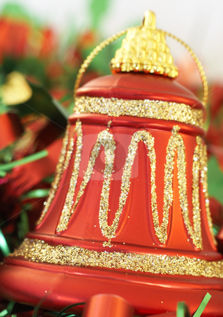 Colorful Christmas bell stock photo, Colorful Christmas bell with green tinsel on white background. Shallow depth of field by Elena Weber (nee Talberg)