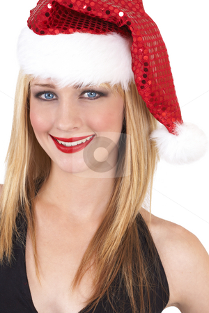 Portrait of beautiful blonde woman stock photo, Portrait of a beautiful blonde woman with light blue eyes and colorful make-up wearing Christmas hat isolated on white background by Elena Weber (nee Talberg)