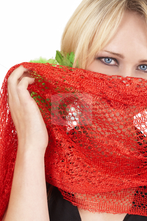 Portrait of beautiful blonde woman stock photo, Portrait of a beautiful blonde woman with light blue eyes and bright make-up wearing red scarf isolated on white background by Elena Weber (nee Talberg)