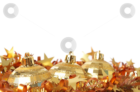 Gold Christmas baubles on tinsel stock photo, Three gold Christmas baubles with tinsel isolated on white background with copy space. Shallow depth of field by Elena Weber (nee Talberg)