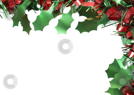 Colorful Christmas tinsel frame stock photo, Colorful Christmas tinsel frame isolated on white background by Elena Weber (nee Talberg)