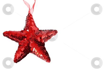 Red shiny Christmas star on white stock photo, Red shiny Christmas star decoration on white background by Elena Weber (nee Talberg)