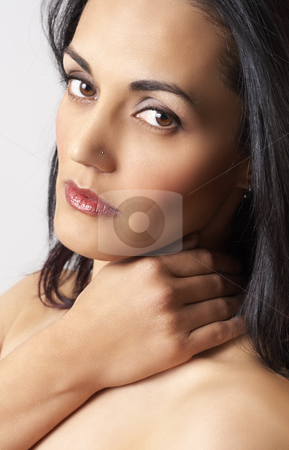 Portrait of beautiful brunette woman stock photo, Portrait of a beautiful mature brunette woman with dramatic make-up and soft skin by Elena Weber (nee Talberg)