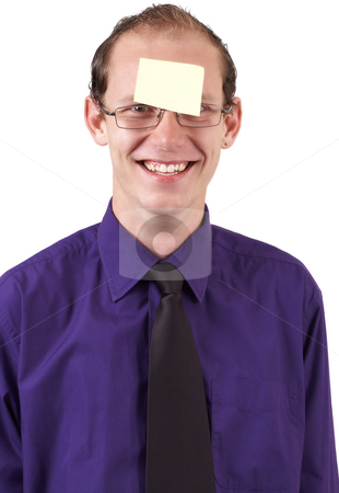 Young Businessman with post-it stock photo, Young successful businessman wearing an office clothes with post-it on his forehead. Isolated on white background by Elena Weber (nee Talberg)