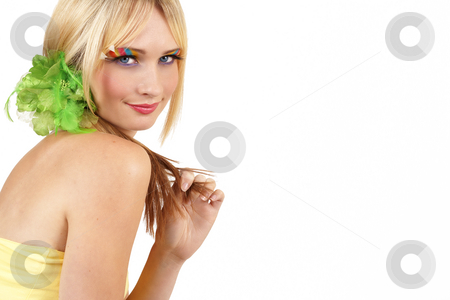 Portrait of beautiful blonde woman stock photo, Portrait of a beautiful blonde woman with light blue eyes and colorful make-up isolated on white background with copy space by Elena Weber (nee Talberg)
