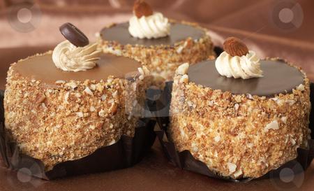 Miniature chocolate cakes stock photo, Three miniature chocolate meringue cakes with cream and almonds on silk background by Elena Weber (nee Talberg)