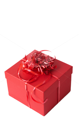 Red gift box with ribbon bows  stock photo, Red gift box with bows isolated on white background by Elena Weber (nee Talberg)
