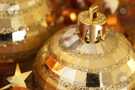 Golden Christmas baubles stock photo, Golden Christmas baubles with golden tinsel. Shallow depth of field by Elena Weber (nee Talberg)