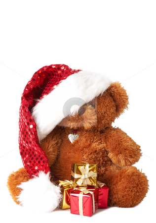 Colorful Christmas gifts and Santa bear stock photo, Stack of colorful Christmas gifts and Santa bear wearing a shiny hat, isolated on white background by Elena Weber (nee Talberg)