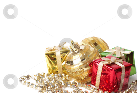 Christmas gift boxes and balls on white stock photo, Colorful Christmas gift boxes and gold balls with jewelry isolated on white background with copy space by Elena Weber (nee Talberg)