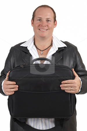 Businessman holding a laptop bag stock photo, Young successful businessman wearing leather jacket holding a laptop bag and smiling. Isolated on white background by Elena Weber (nee Talberg)