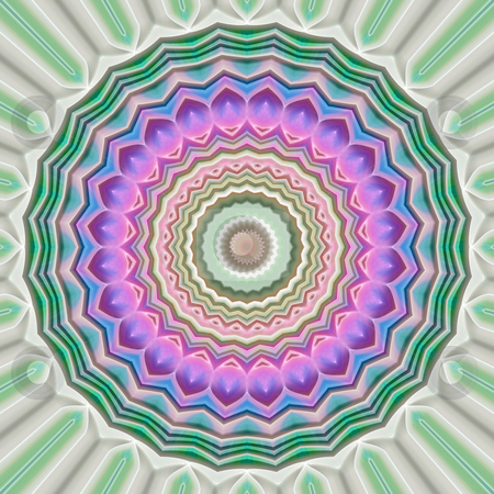 Classic ornamental flower mandala stock photo, Flower like mandala symbol in soft pink and green colors by Wino Evertz
