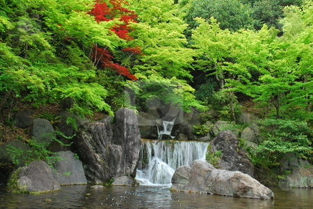 Waterfall in a japanese zen garden stock photo for Zen garden waterfall