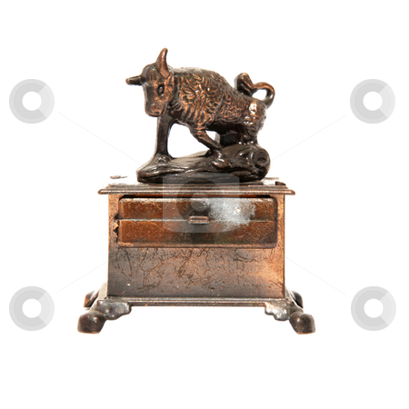 Taurus stock photo, Sign of the zodiac in bronze. Isolated on white. Taurus by Giuseppe Ramos