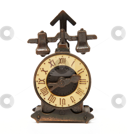 Time stock photo, Old bronze clock over white background. Isolated image by Giuseppe Ramos