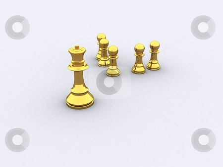 Chess Gold stock photo, A group of golden Chess figure by Jan Schering