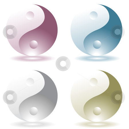 Ying yang four stock vector clipart, Four illustrated ying yang icons with drop shadow by Michael Travers
