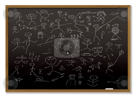 Stick man blackboard stock vector clipart, School black board with childish chalk drawing of people by Michael Travers