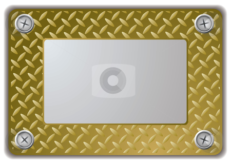 Metal mirror frame stock vector clipart, Golden metal mirror frame or name plate with textured finish by Michael Travers