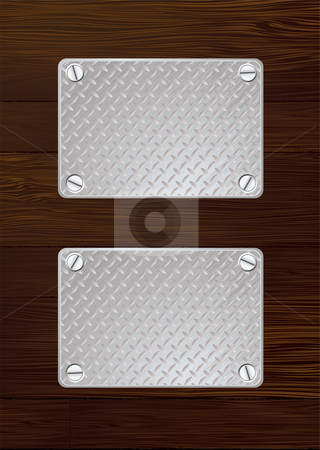 Dark wood metal plate stock vector clipart, Two silver anti slip metal plate with screw with wooden wall by Michael Travers