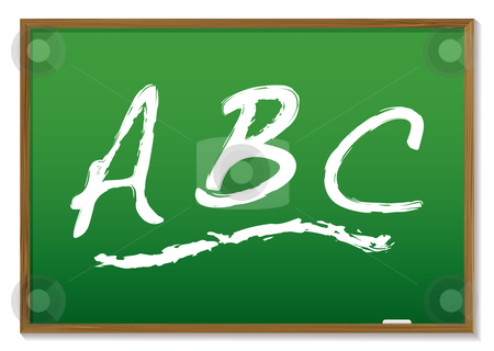 Chalkboard abc stock vector clipart, Learn your abc drawn on a green chalk board with wooden frame by Michael Travers